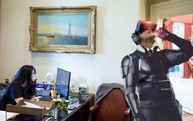 Обама и очки виртуальной реальности: президент США стал героем фотожаб