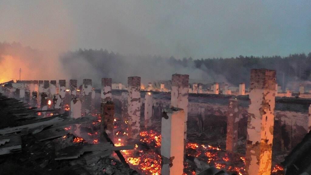 Масштабный пожар на Черниговщине: сгорели пять овощехранилищ и техника