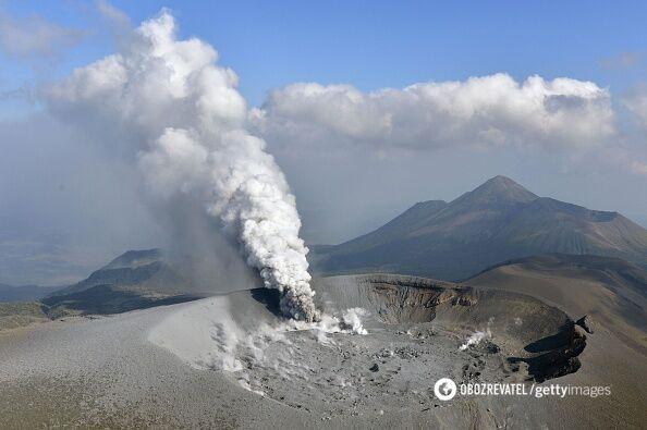 Виверження великого вулкана вЯпонії: з'явилися фото і відео унікального явища