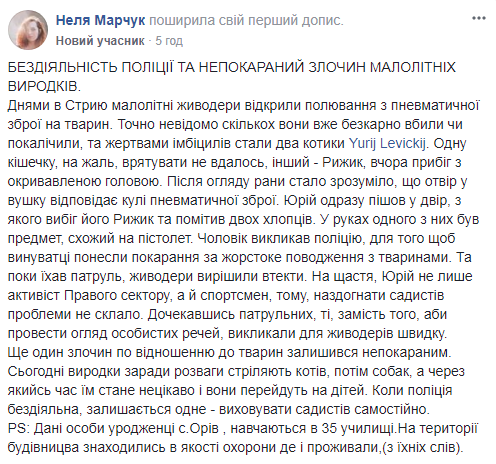 На Львівщині активіст затримав хлопців, які розстрілюювали котів: фото шкуродерів