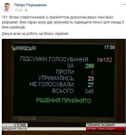 Народные избранники Верховной рады одобрили закон опенсионной реформе