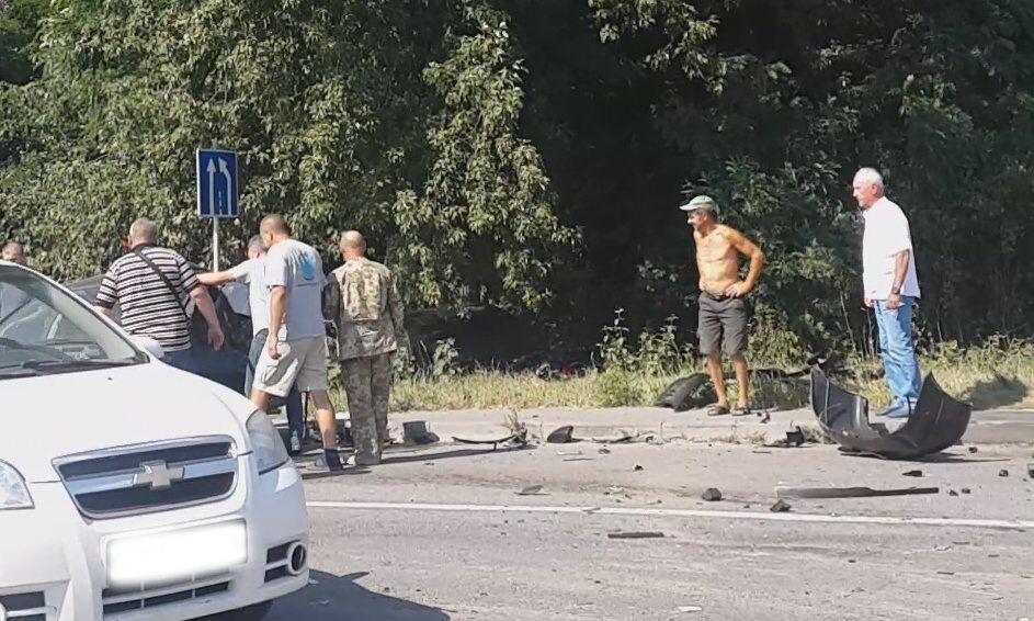 Петр Дыминский на месте аварии