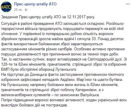 Вдвое больше обстрелов: в штабе АТО заявили о серьезном обострении