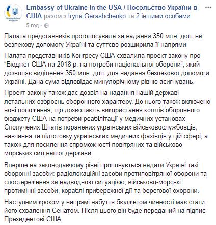 Летальна зброя для України: Конгрес США ухвалив важливе рішення