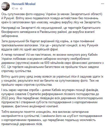 """Вирубка лісу в Україні: Москаль заявив про """"продаж"""" Карпат"""