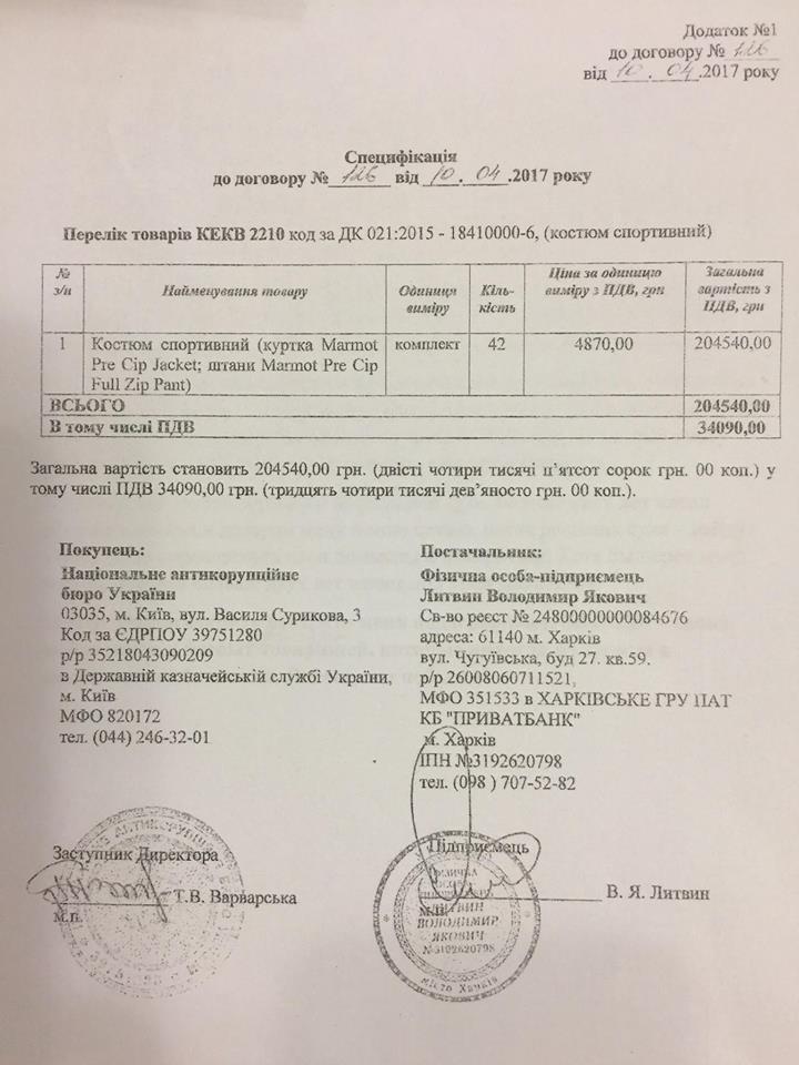 """НАБУ закупилось на 170 тис. у одного з фігурантів справи """"рюкзаків Авакова"""""""