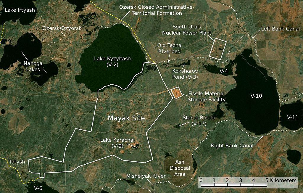 """Спутниковый снимок местности расположения ПО """"Маяк"""""""