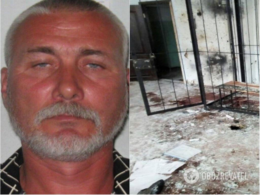 Руслан Тапаев и фото зала судебных заседаний после взрыва