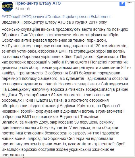 Ситуація на Донбасі: як пройшла доба в зоні АТО