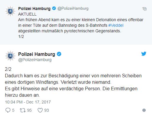 У Гамбурзі на вокзалі прогримів вибух
