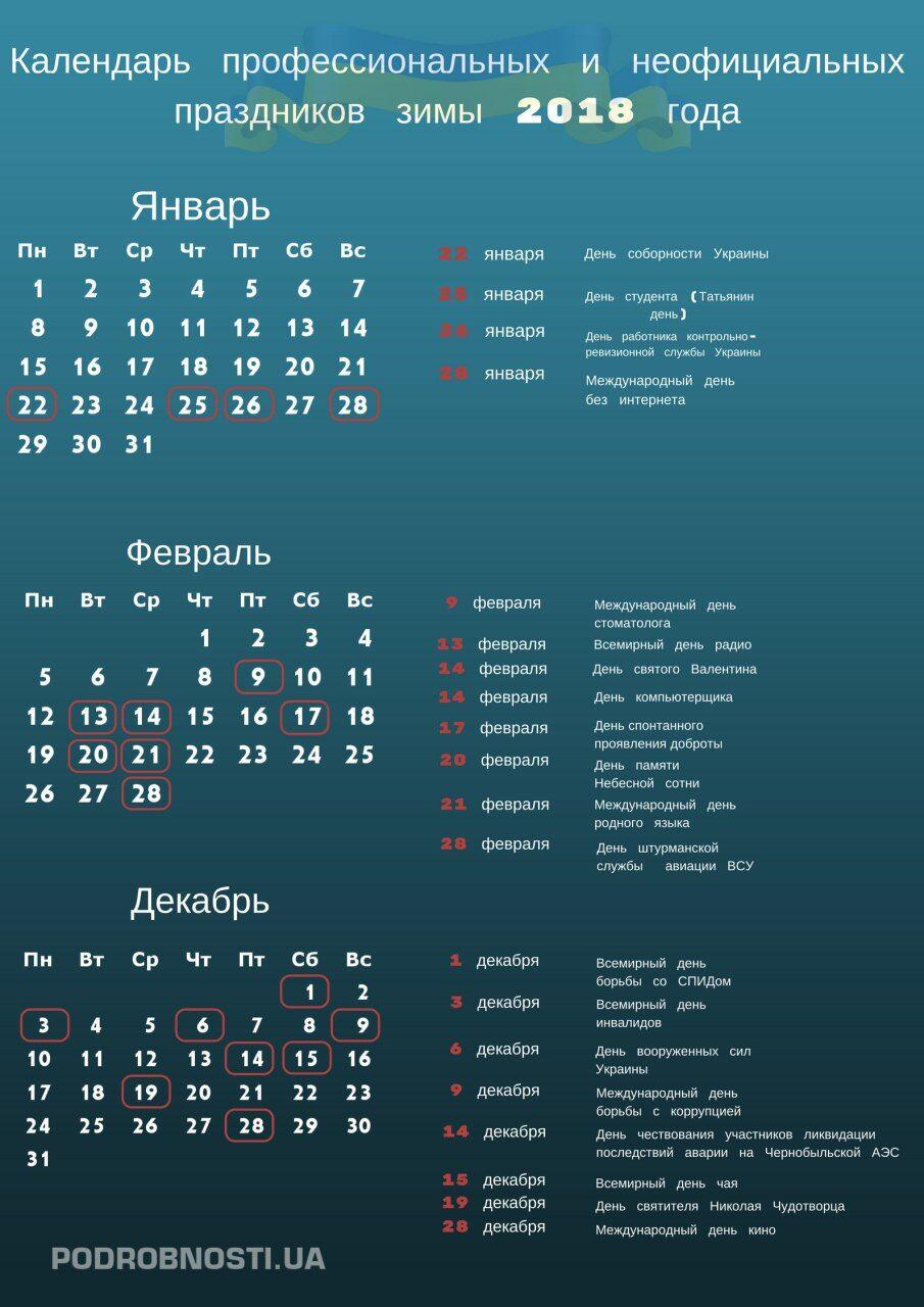 Календарь праздников в украине на 2018