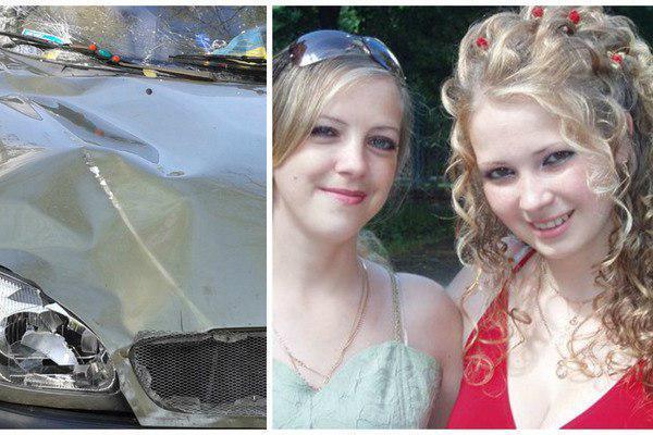На фото - авто, которое сбило девушку, и погибшая Светлана Сапатинская с сестрой