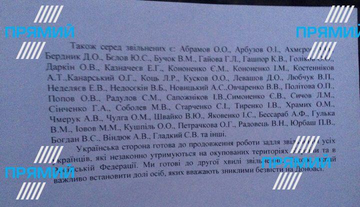 Обмен пленными: обнародован список освобожденных украинцев