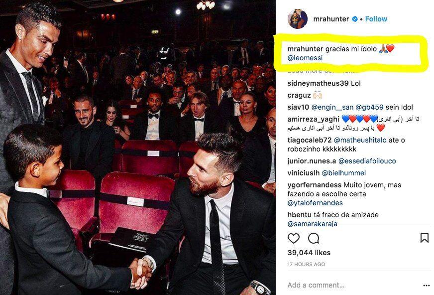 """Instagram """"наказал"""" сына Криштину Роналду за восхищение Месси"""