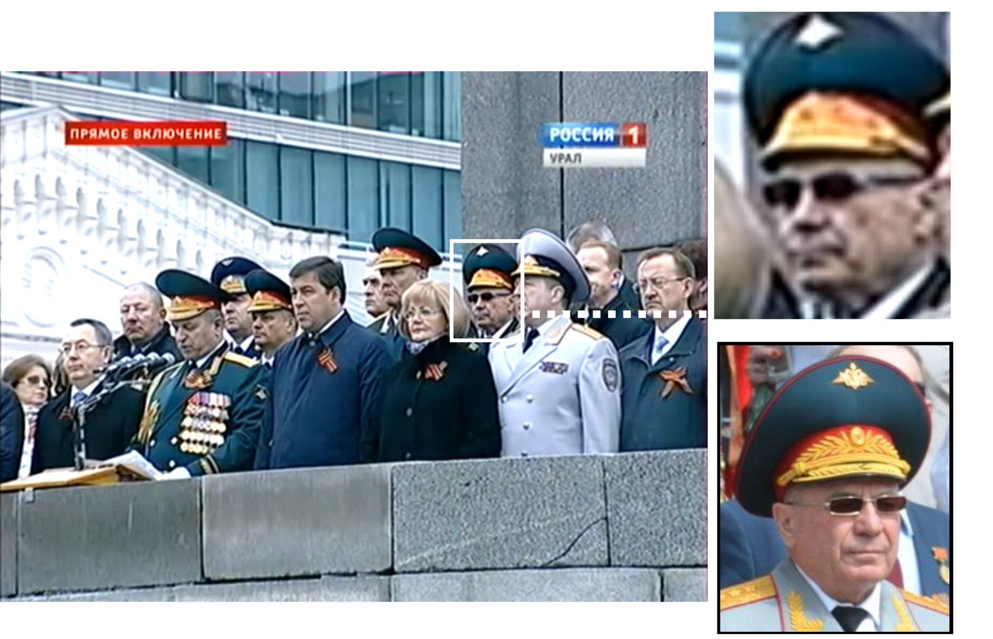 Генерал Ткачов на параді в Єкатеринбурзі 9 травня 2014 року