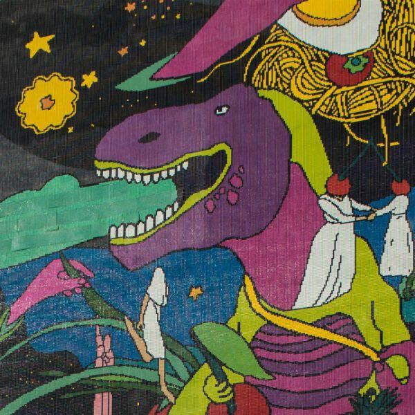 В Киеве появился мурал-мозаика с огромным динозавром