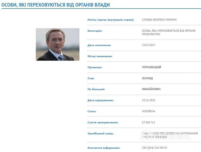 Екс-мер Києва Черновецький оголошений у розшук