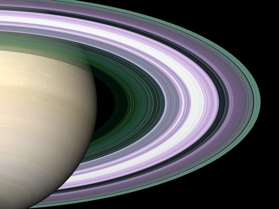 За допомогою кольорів на цій фотографії показані кільця з різним складом і розміром складових їхніх частинок
