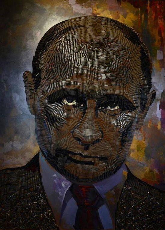 Ужас с Донбасса: в Нью-Йорке показали украинский портрет Путина из гильз