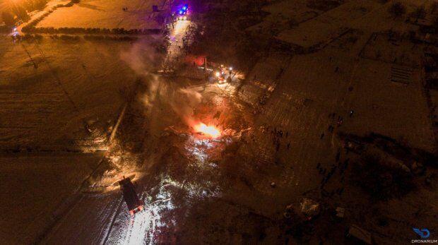 Авиакатастрофу в Кременчуге засняли с высоты птичьего полета