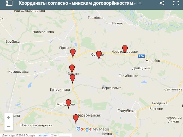 Линия разграничения по Минским соглашениям, сентябрь 2014