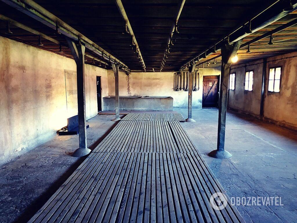 Душовий зал, у якому мили і голили чоловіків. Всього за роки роботи Майданека з табору було вивезено на переробку понад 730 кг волосся в'язнів