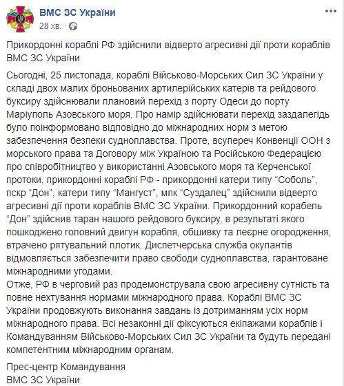 Конфлікт Росії та України у Керченській протоці: всі подробиці