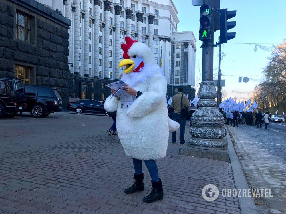 Під Кабмін прийшли гігантські кури: фоторепортаж