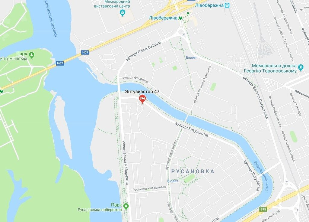 Место происшествия на карте