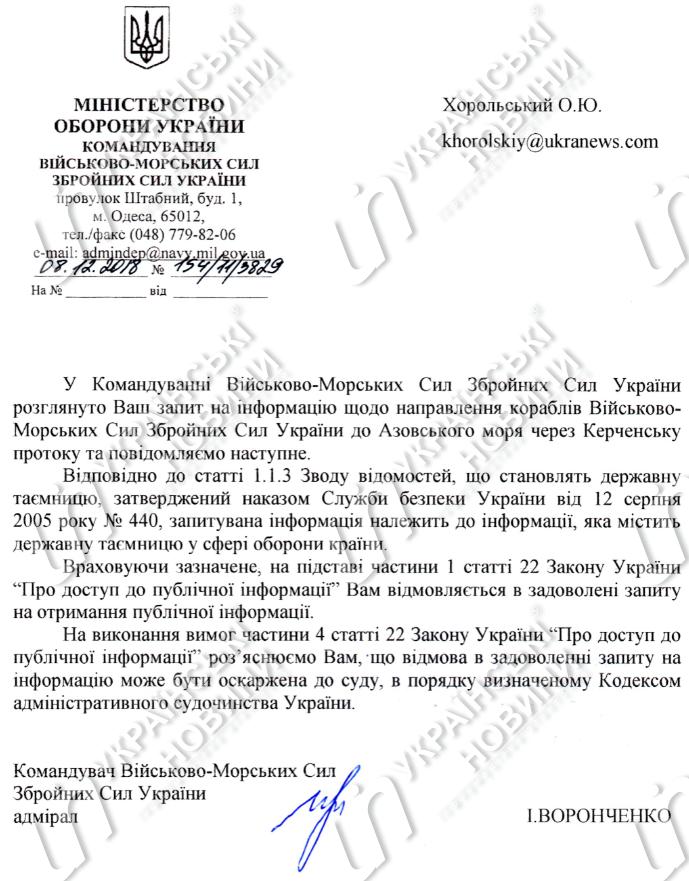 Захоплення українських моряків: Міноборони засекретило наказ про перехід кораблів