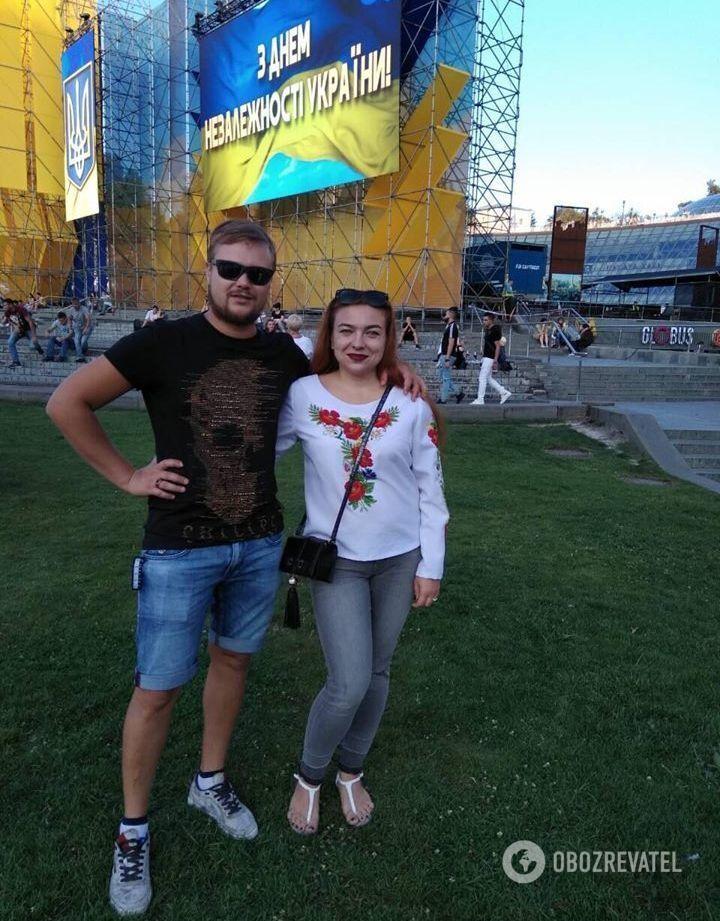 Ольга с мужем в День Независимости Украины