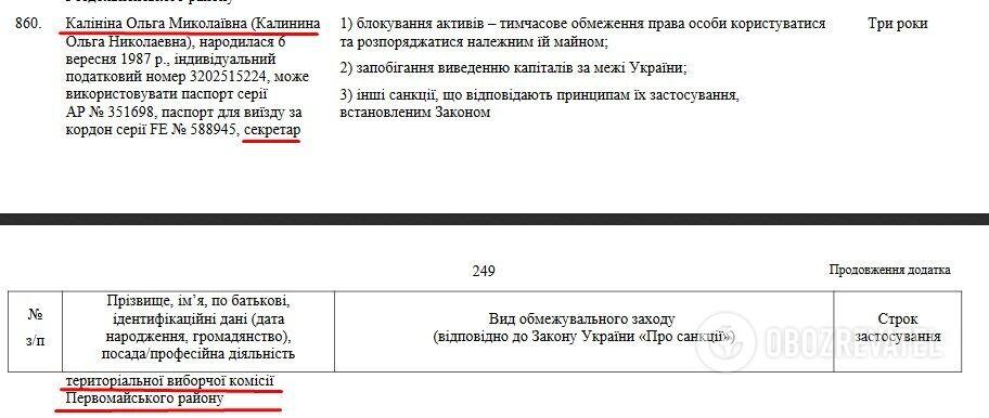 Ольга Калинина в санкционном списке СНБО