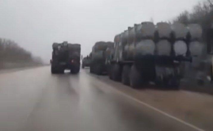Колонна техники в Крыму 27 ноября