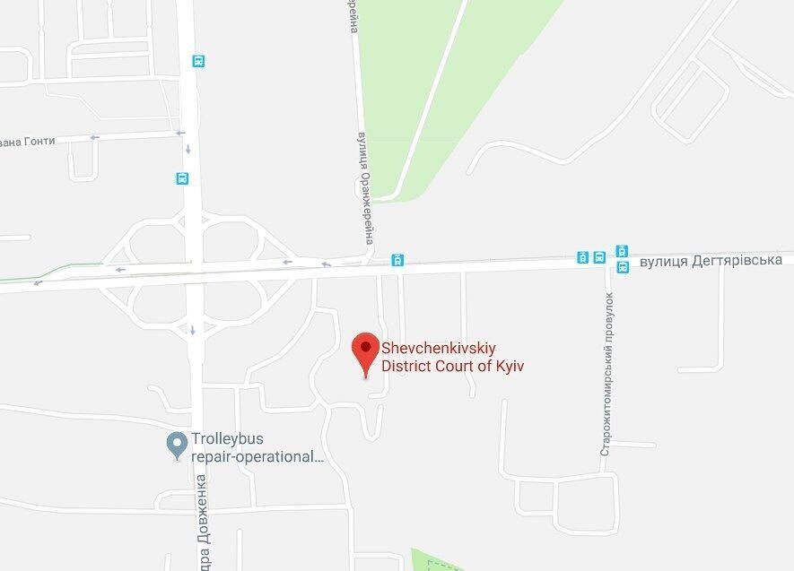 Шевченківський суд на мапі