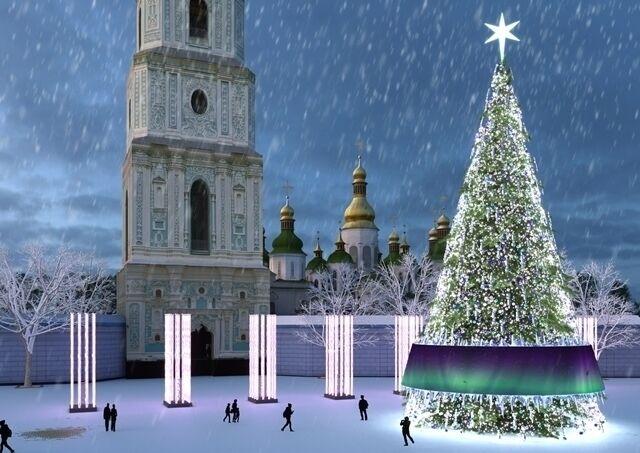 Софийская площадь на Новый год