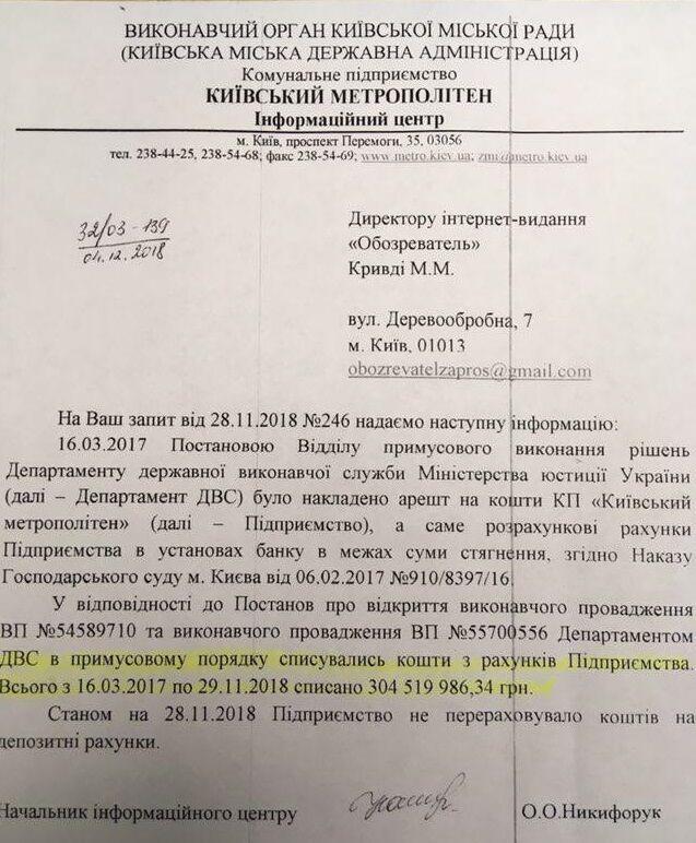 Відповідь київського метро на запит OBOZREVATEL