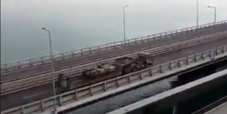 ''Нервничают небратья''? На Крымском мосту засекли колонну военной техники РФ