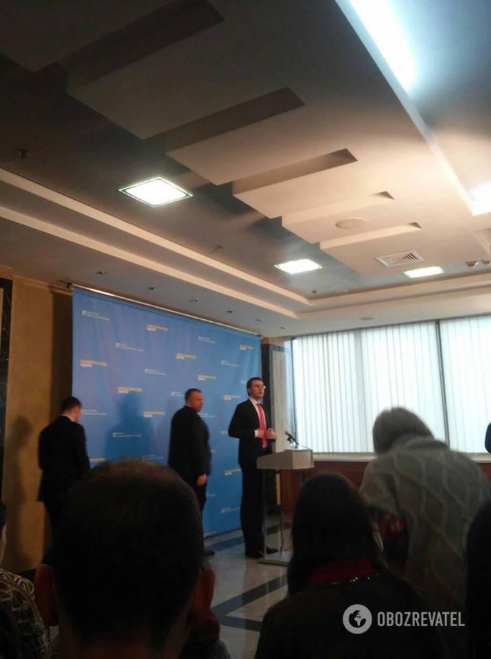 міністр інфраструктури України Володимир Омелян на брифінгу в Києві 22.02.2018