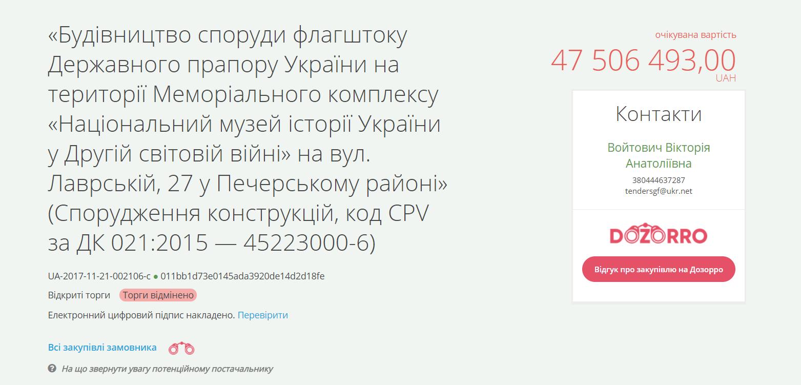 В Киеве передумали устанавливать флагшток за 47 млн гривен