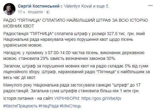 Украинская ФМ-станция выплатила самый крупный штраф из-за квот