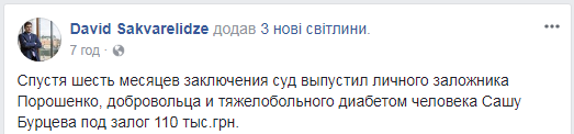 Прорыв границы: суд отпустил под залог соратника Саакашвили