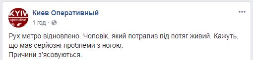 НП в метро Києва: чоловік упав під потяг