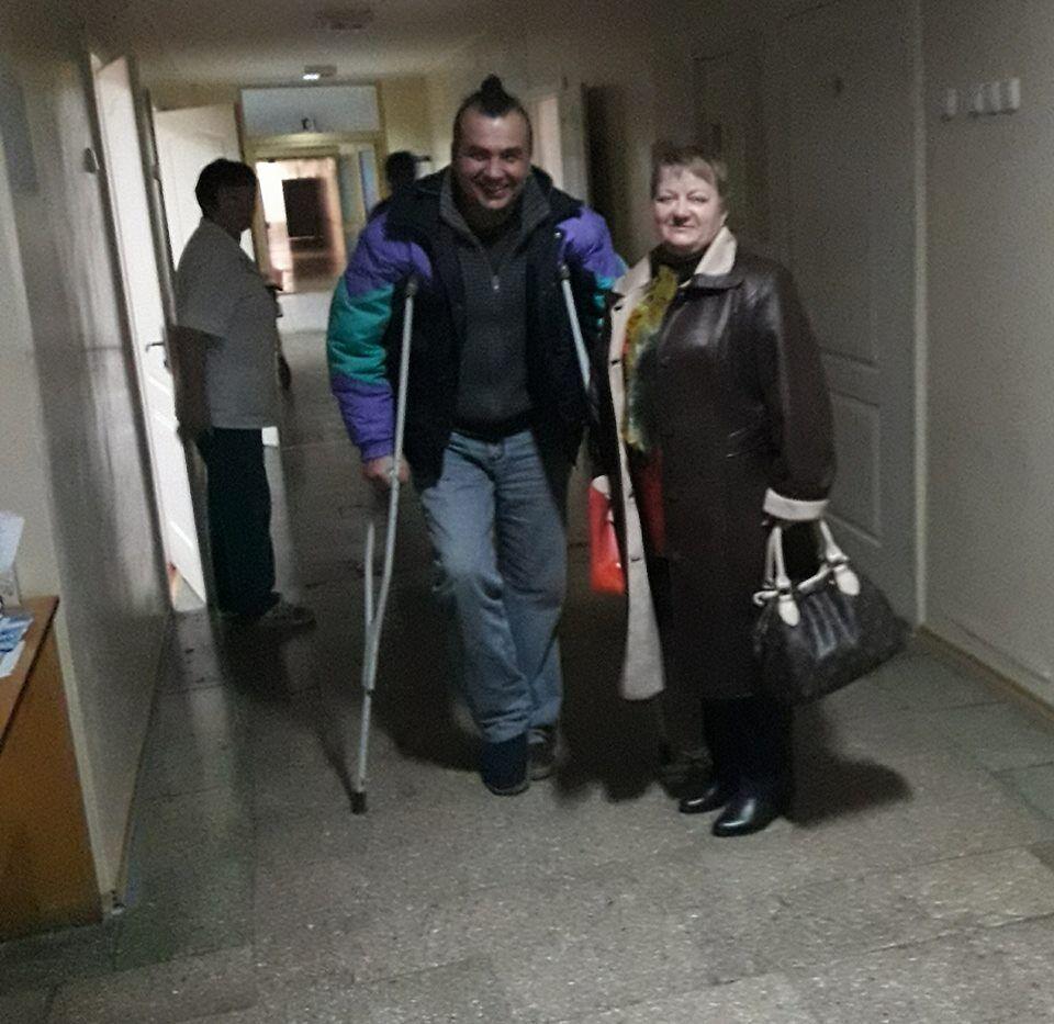 Александр Польянов и мать погибшего в АТО обуховчанина Ольга Тимко