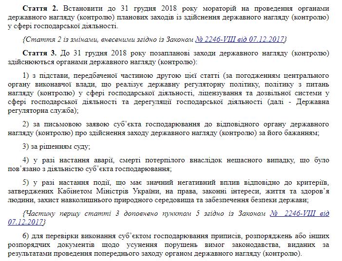 """Закон """"О временных особенностях принятия мер госконтроля в сфере хозяйственной деятельности"""""""