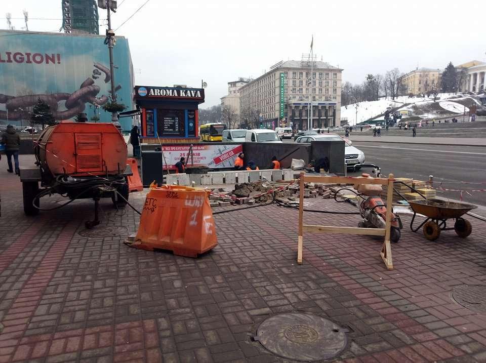 После сноса МАФов: в переходе на Майдане начался ремонт