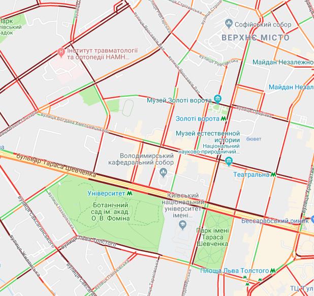 Київ скували затори: опублікована карта