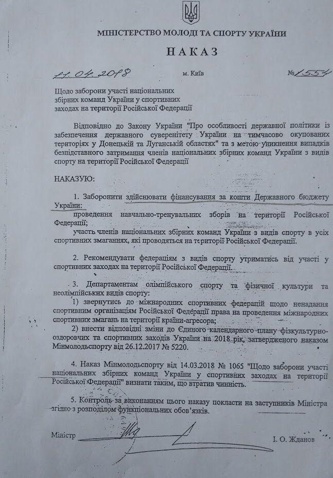 Спортсменам України дозволили їздити в РФ