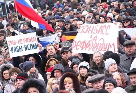 Пророссийский митинг на Донбассе, весна 2014-го