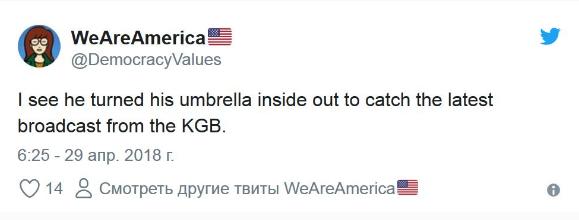 Трамп оконфузился с собственным зонтом