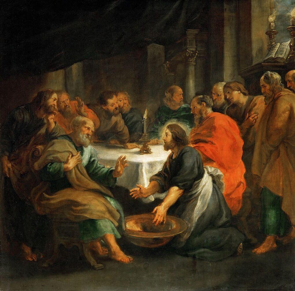 Иисус омывает ноги ученикам, Рубенс